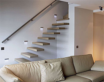 wandeinbauleuchten treppe glas pendelleuchte modern. Black Bedroom Furniture Sets. Home Design Ideas